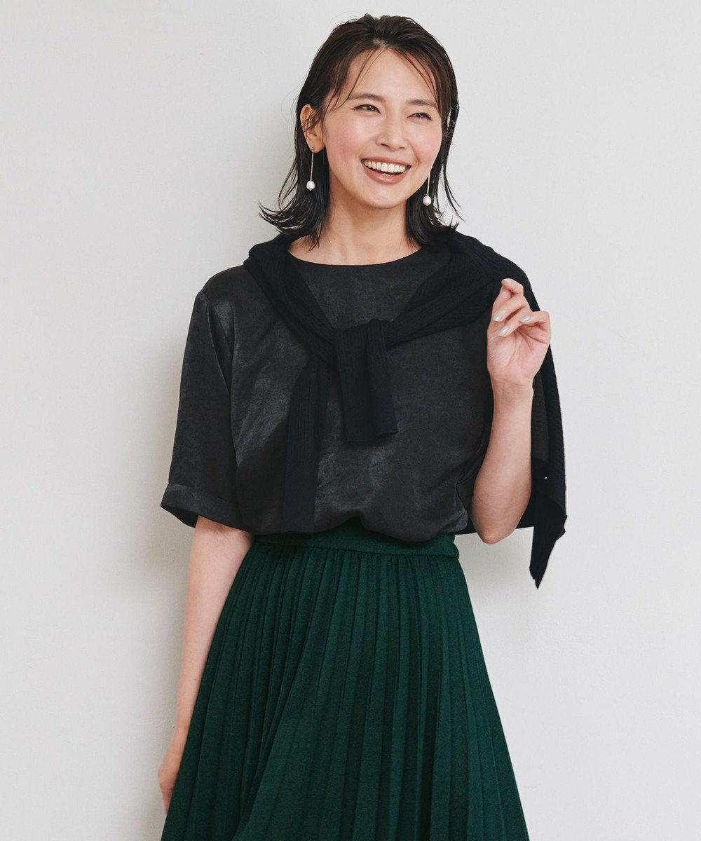 any FAM L 【洗える】サテン トップス ブラック系