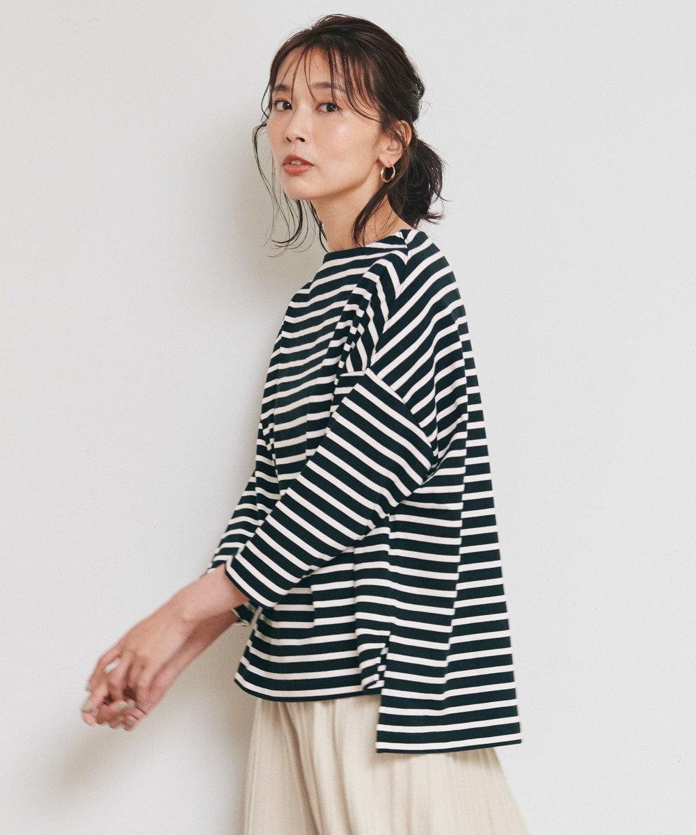 any FAM 【オーガニックコットン】オーガビッツボーダー ロングTシャツ アイボリー系1