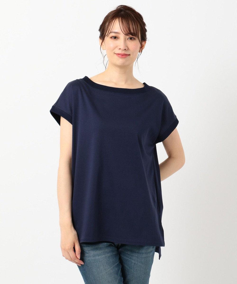 any FAM L 【洗える】シルケットスムースニットコンビ Tシャツ ネイビー系