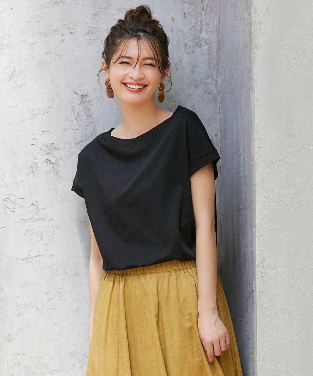 any FAM L 【洗える】シルケットスムースニットコンビ Tシャツ ブラック系