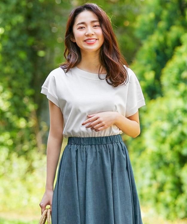any FAM L 【洗える】シルケットスムースニットコンビ Tシャツ