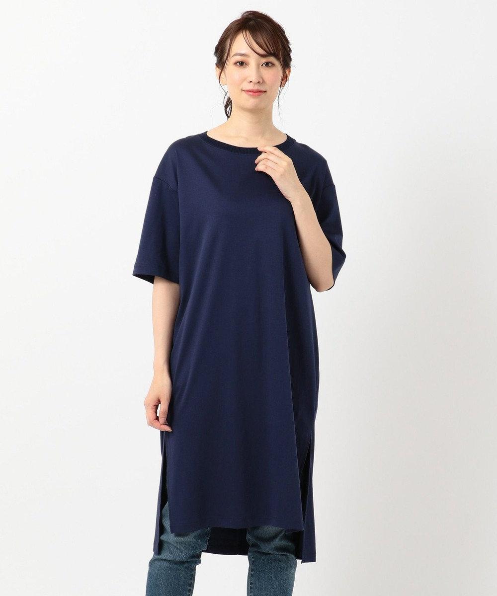 any FAM L 【洗える】シルケットスムースニットコンビチュニック Tシャツ ネイビー系