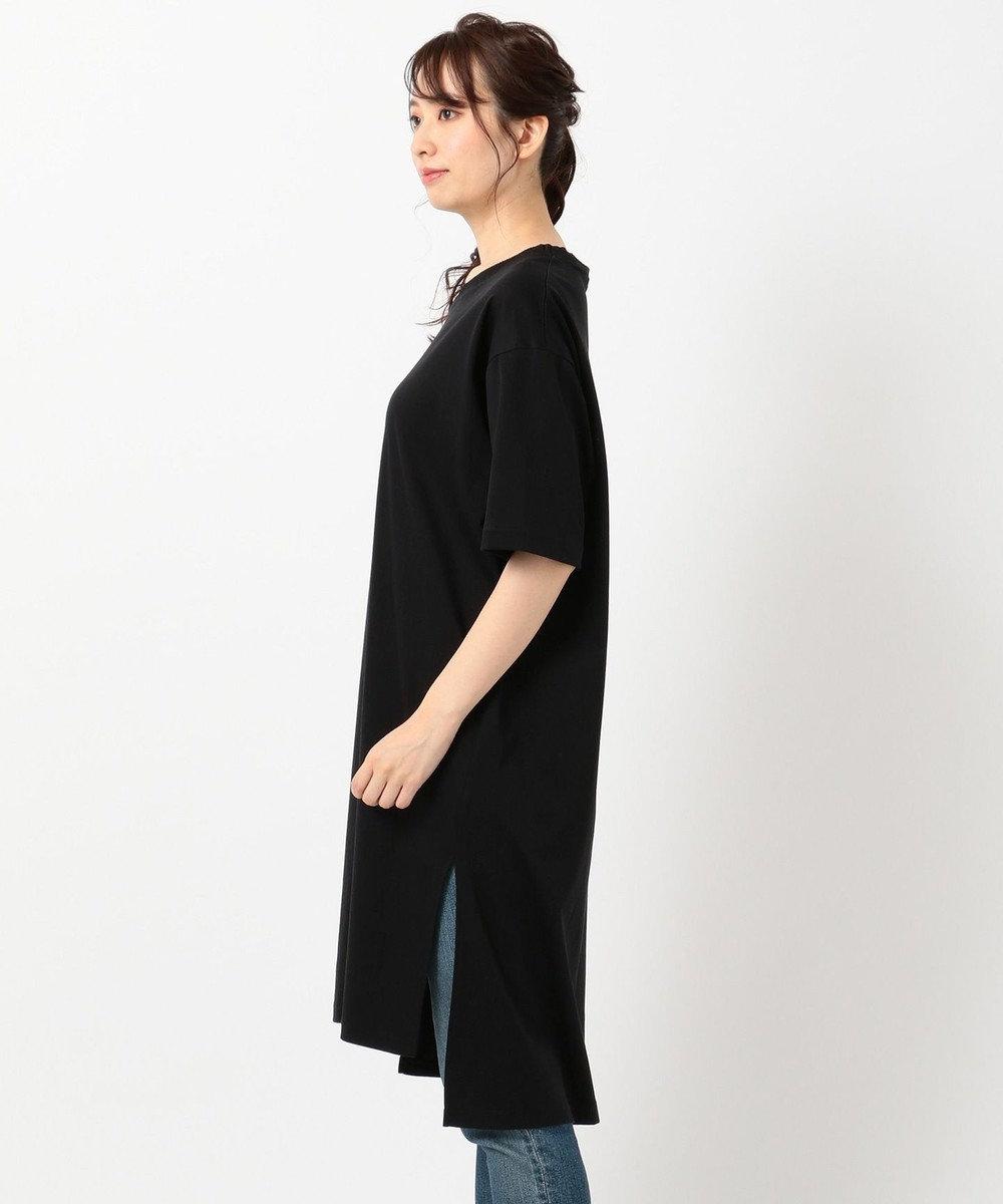 any FAM L 【洗える】シルケットスムースニットコンビチュニック Tシャツ ブラック系