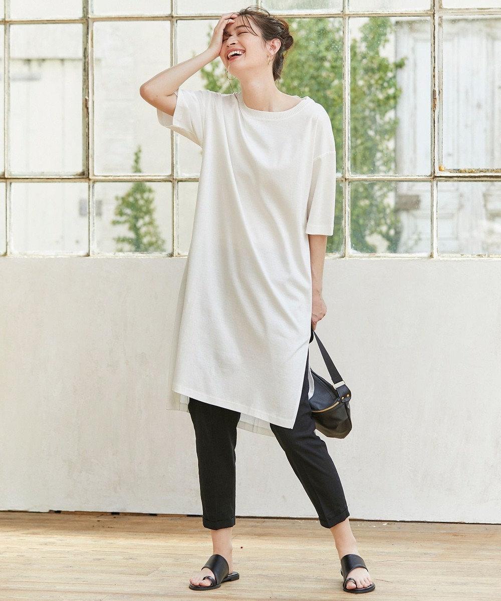 any FAM L 【洗える】シルケットスムースニットコンビチュニック Tシャツ ホワイト系