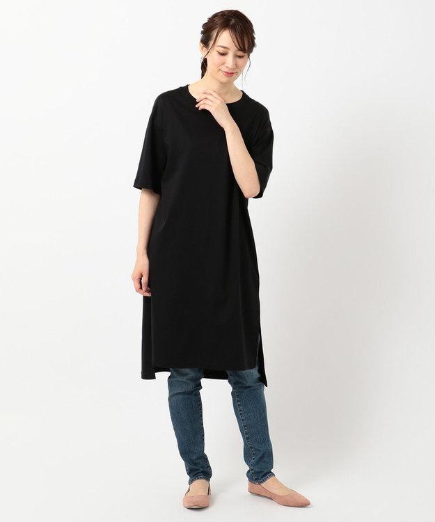 any FAM L 【洗える】シルケットスムースニットコンビチュニック Tシャツ