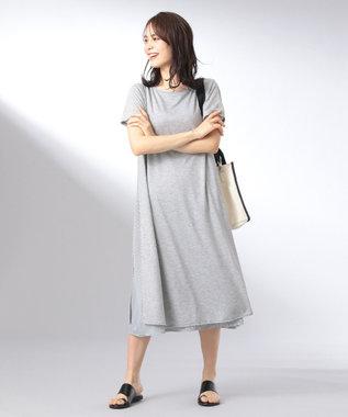 any FAM L 【おうち時間に】【洗える】シャツレイヤード ワンピース ライトグレー系