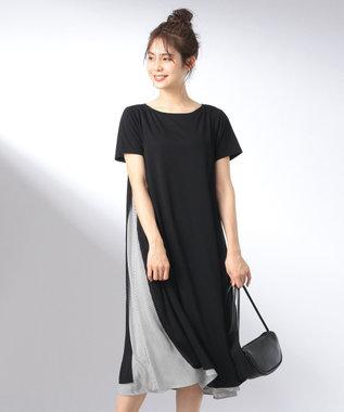any FAM L 【おうち時間に】【洗える】シャツレイヤード ワンピース ブラック系