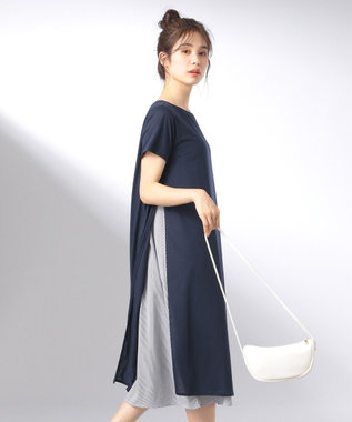 any FAM L 【おうち時間に】【洗える】シャツレイヤード ワンピース ブルー系