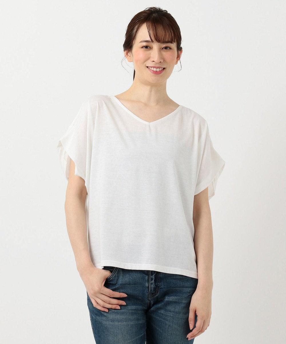 any FAM 【大ヒット商品】【UVケア・接触冷感】Tブラウス Tシャツ ホワイト系