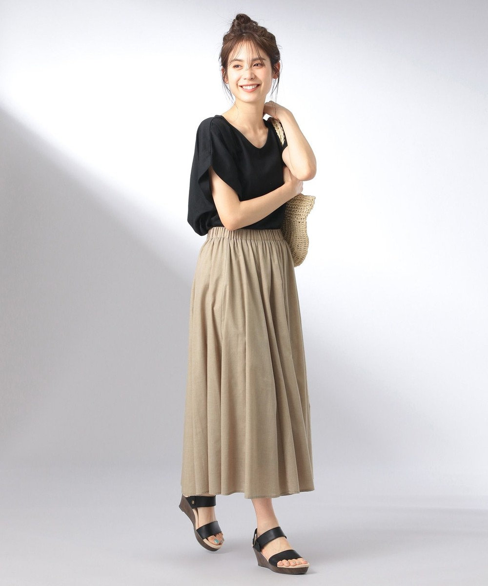 any FAM 【大ヒット商品】【UVケア・接触冷感】Tブラウス Tシャツ ブラック系