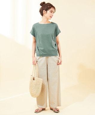 any FAM 【UVケア・接触冷感】TフレアブラウスII Tシャツ グリーン系