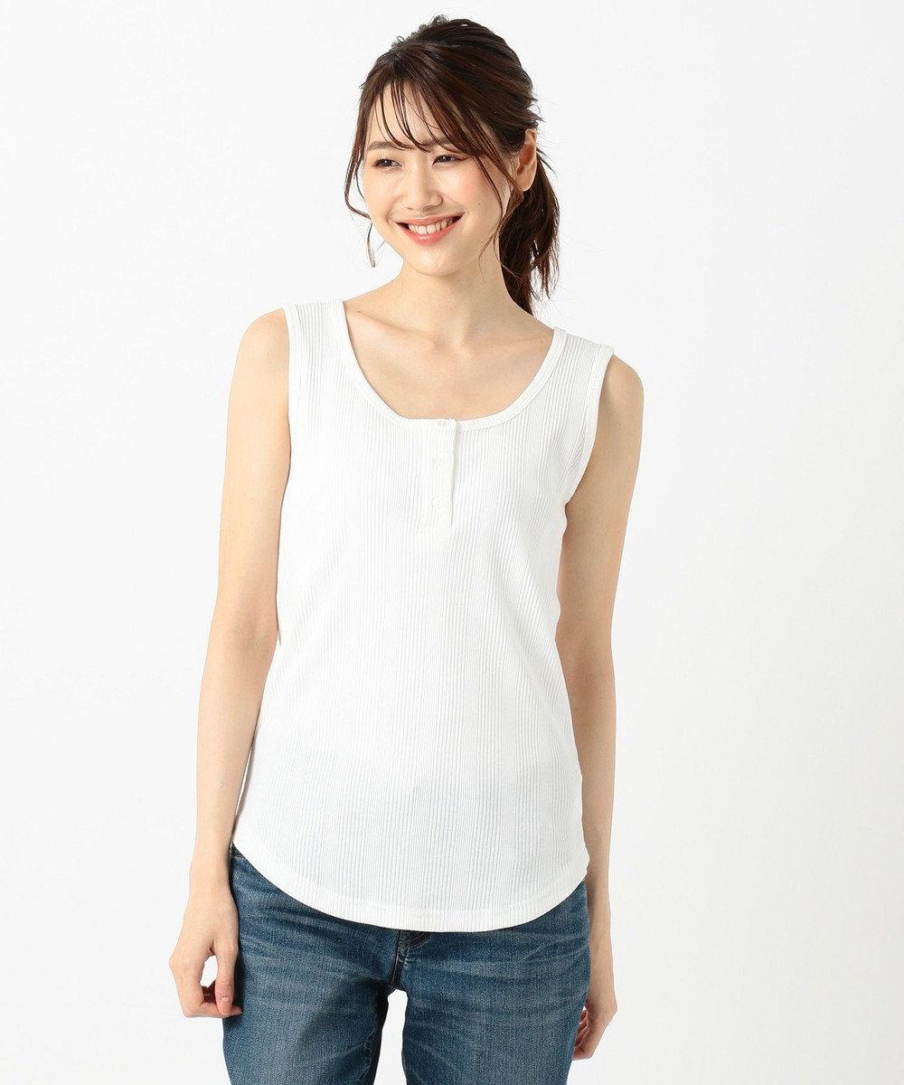 any FAM L 【洗える】2WAYテレコ タンクトップ ホワイト系