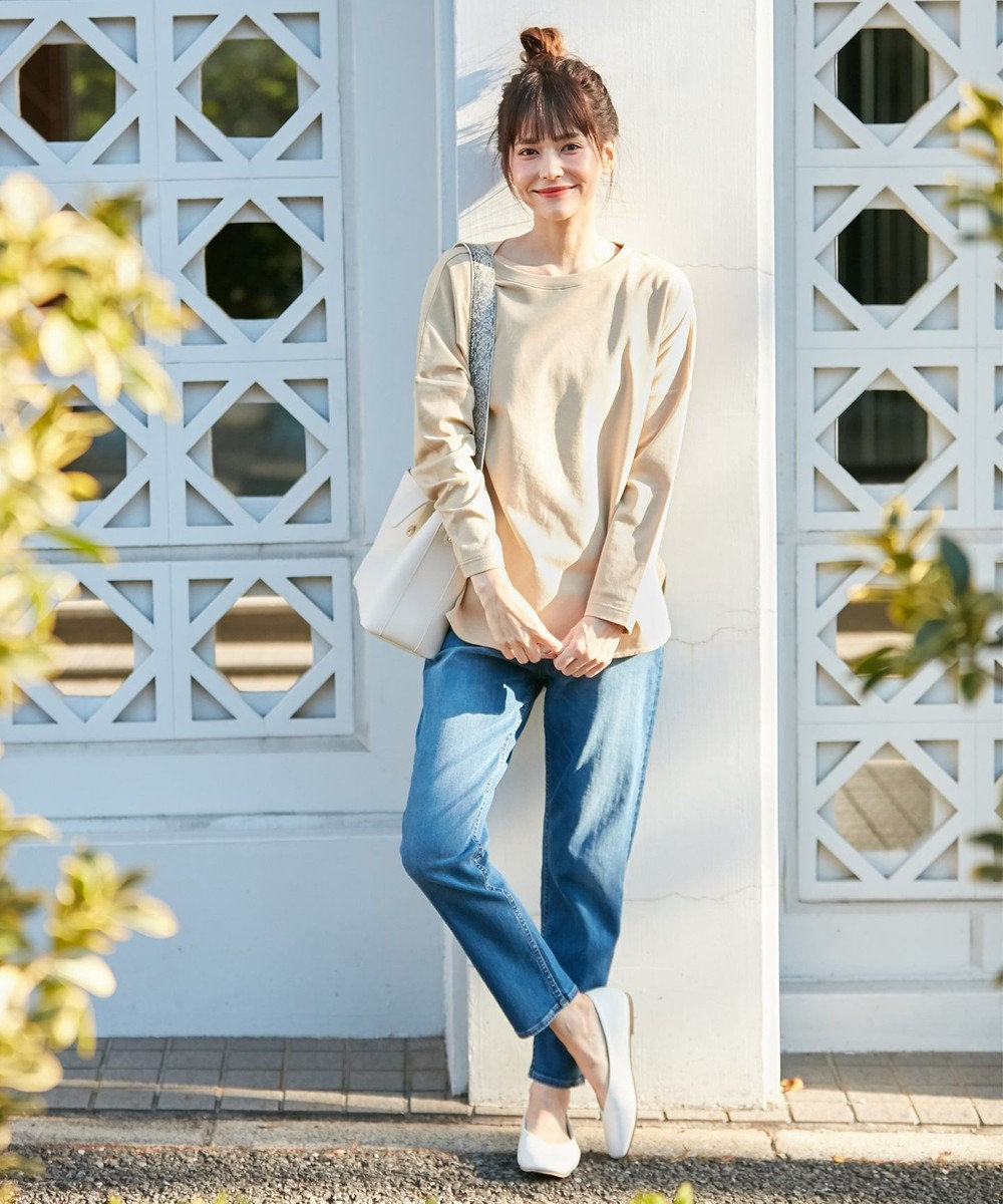 any FAM 【定番人気】プレミアムベーシック ロングTシャツ ベージュ
