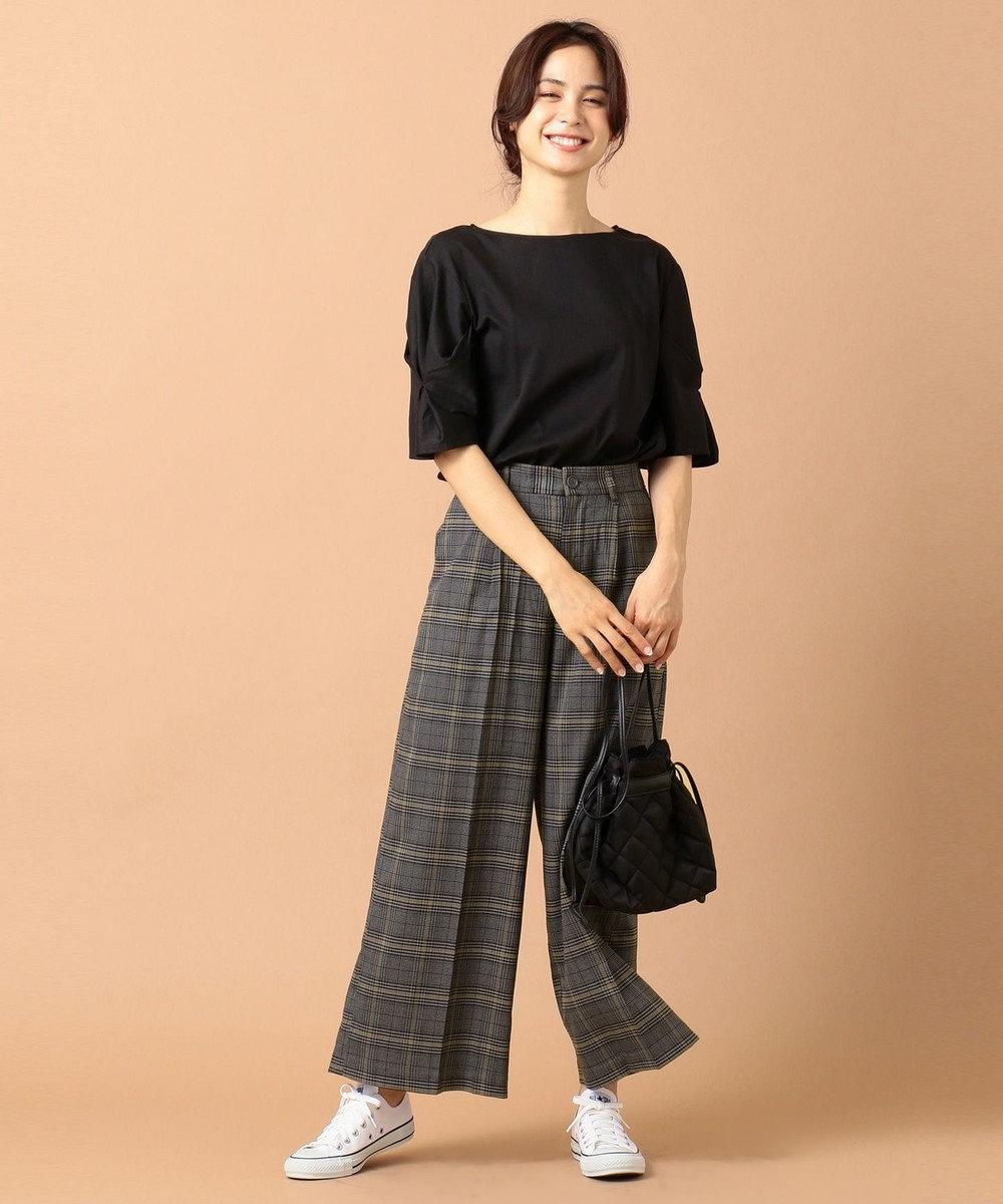 any FAM 【洗える】スリーブタック カットソー ブラック系