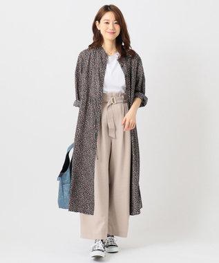 any FAM L 【洗える・2WAY】ウエストドロストフラワー ワンピース ネイビー系5