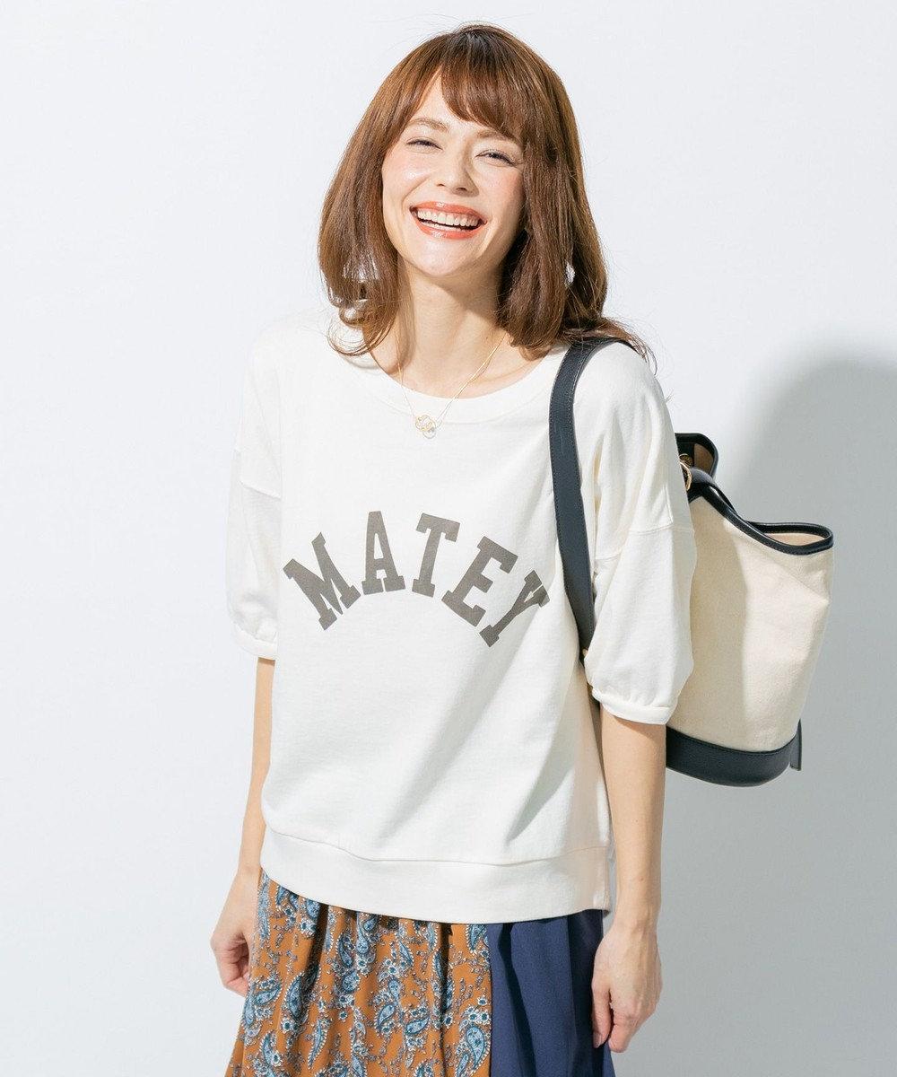 any FAM L ミニ裏毛ロゴ トップス ホワイト系