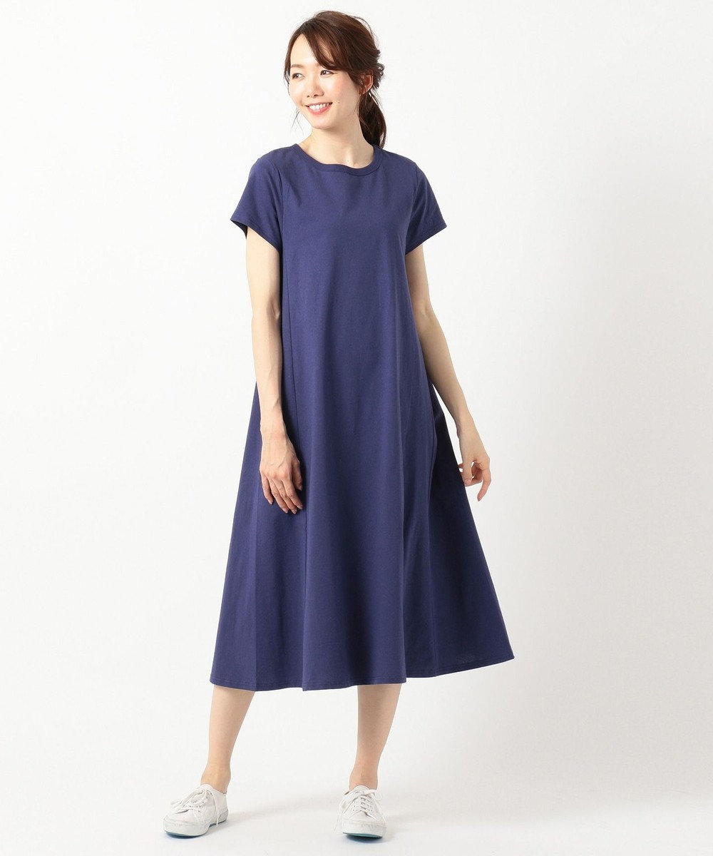 any FAM 【洗える・軽量】エアースパン ワンピース ブルー系