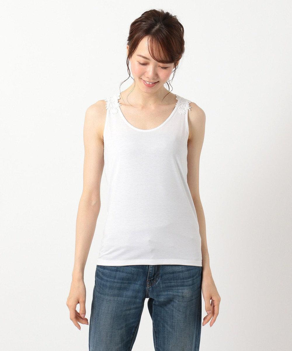 any FAM L 【洗える】バックレース タンクトップII ホワイト系