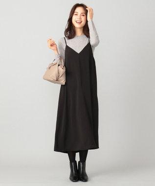 any FAM 【洗える】ニットトップスセット キャミソールワンピース ブラック系