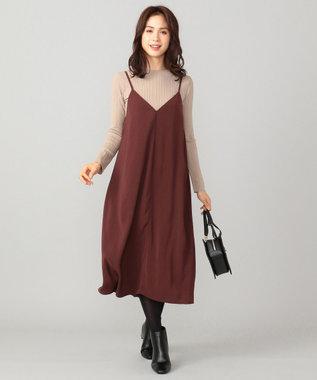 any FAM 【洗える】ニットトップスセット キャミソールワンピース ブラウン系