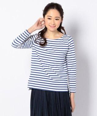 any FAM Basicボーダークルーネック Tシャツ ブルー系1