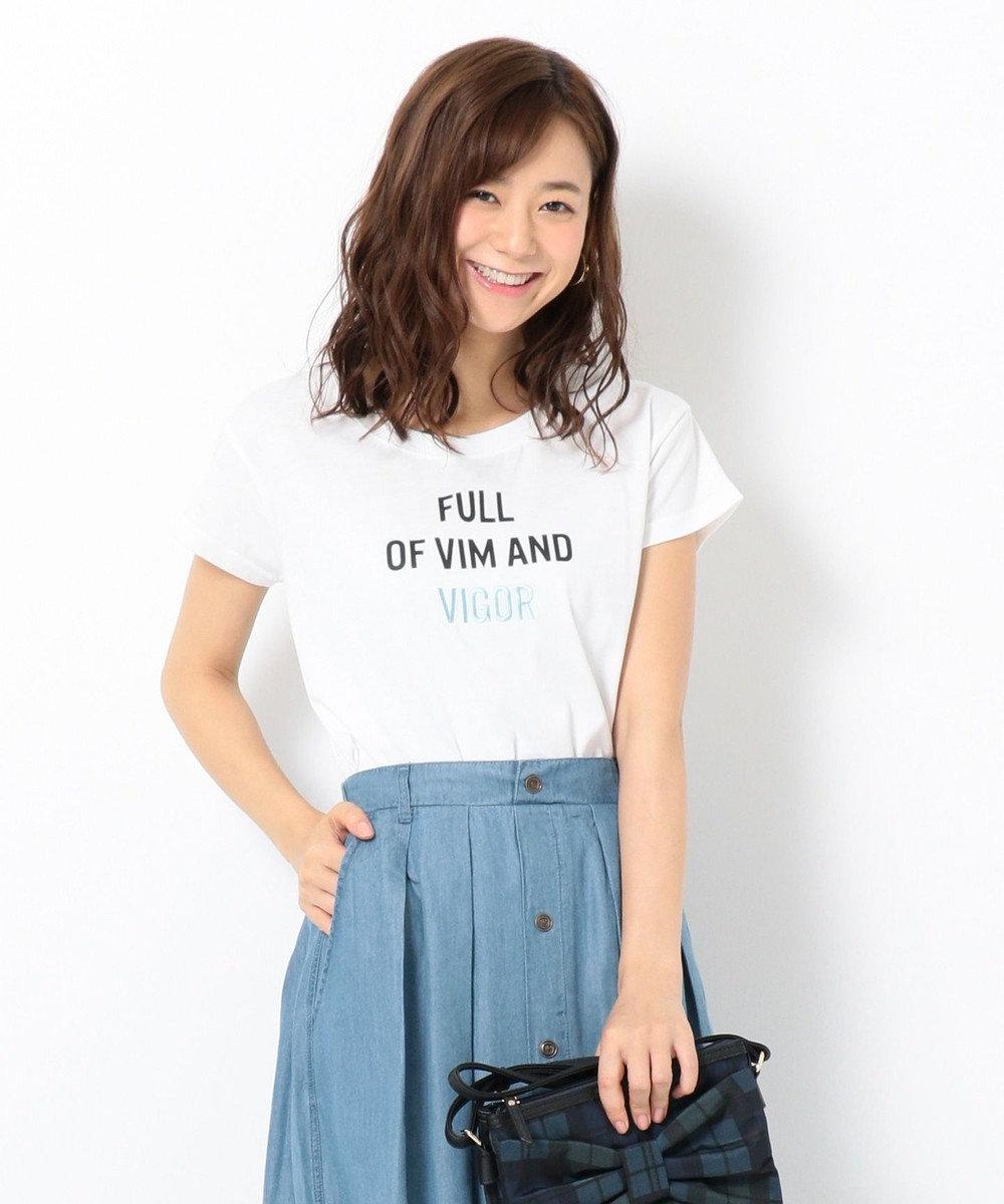 any FAM 【接触冷感】無地/ボーダー ロゴプリント Tシャツ ホワイト系