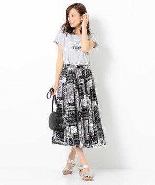 any FAM 【接触冷感】無地/ボーダー ロゴプリント Tシャツ ライトグレー系