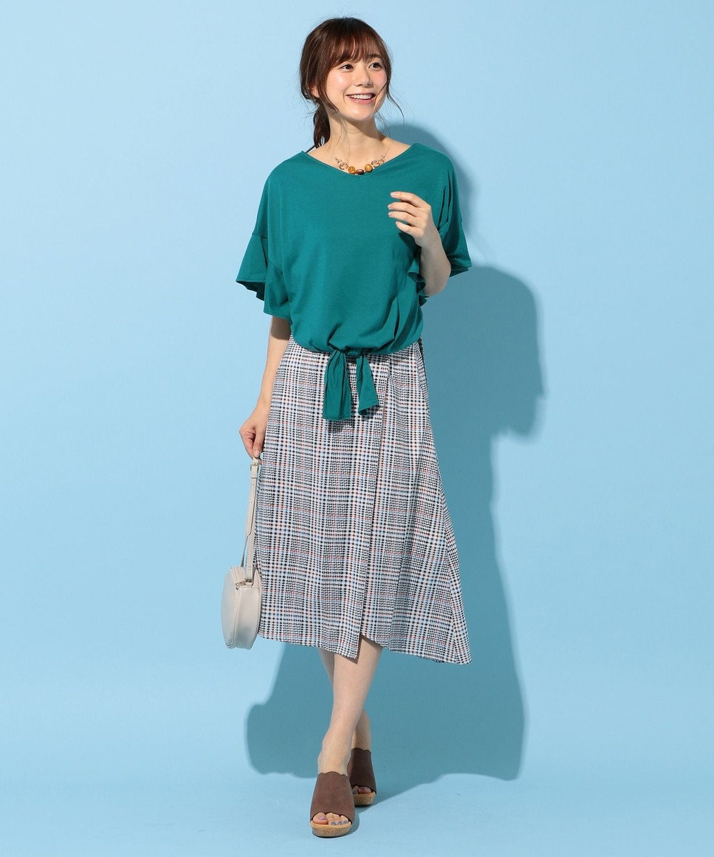 any FAM 【WEB限定】フリルスリーブ Tシャツ グリーン系