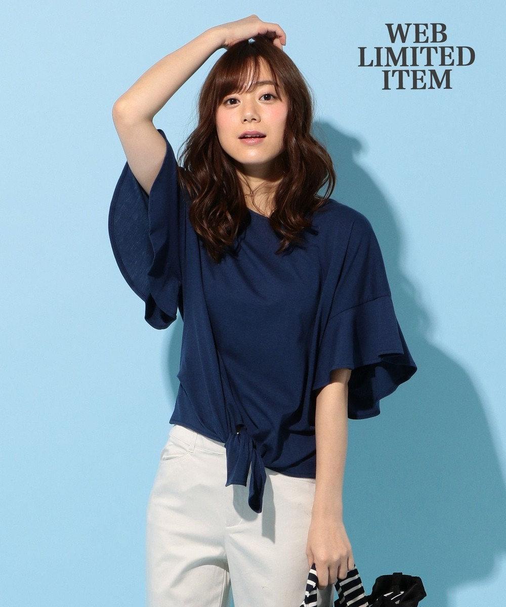 any FAM 【WEB限定】フリルスリーブ Tシャツ ブルー系
