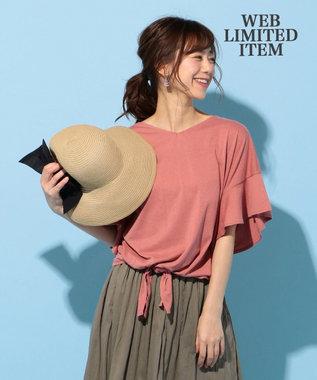 any FAM 【WEB限定】フリルスリーブ Tシャツ ライトオレンジ系