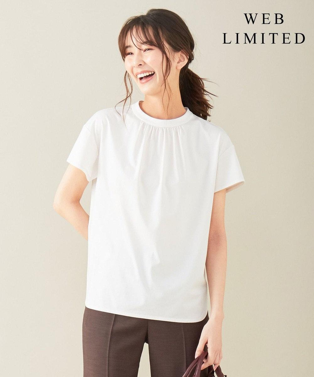J.PRESS LADIES S 【WEB限定】プレーティングジャージーモックネック Tシャツ [WEB限定]グレージュ系