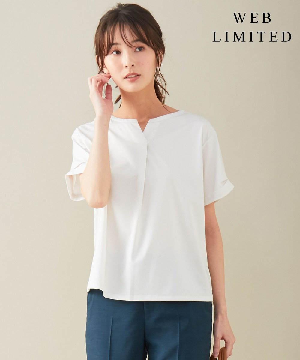 J.PRESS LADIES 【WEB限定】プレーティングジャージー刻み襟 Tシャツ [WEB限定]グレージュ系