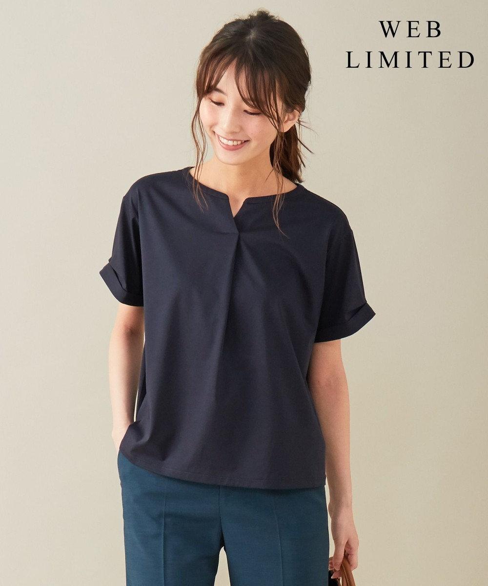 J.PRESS LADIES L 【WEB限定】プレーティングジャージー刻み襟 Tシャツ [WEB限定]ネイビー系