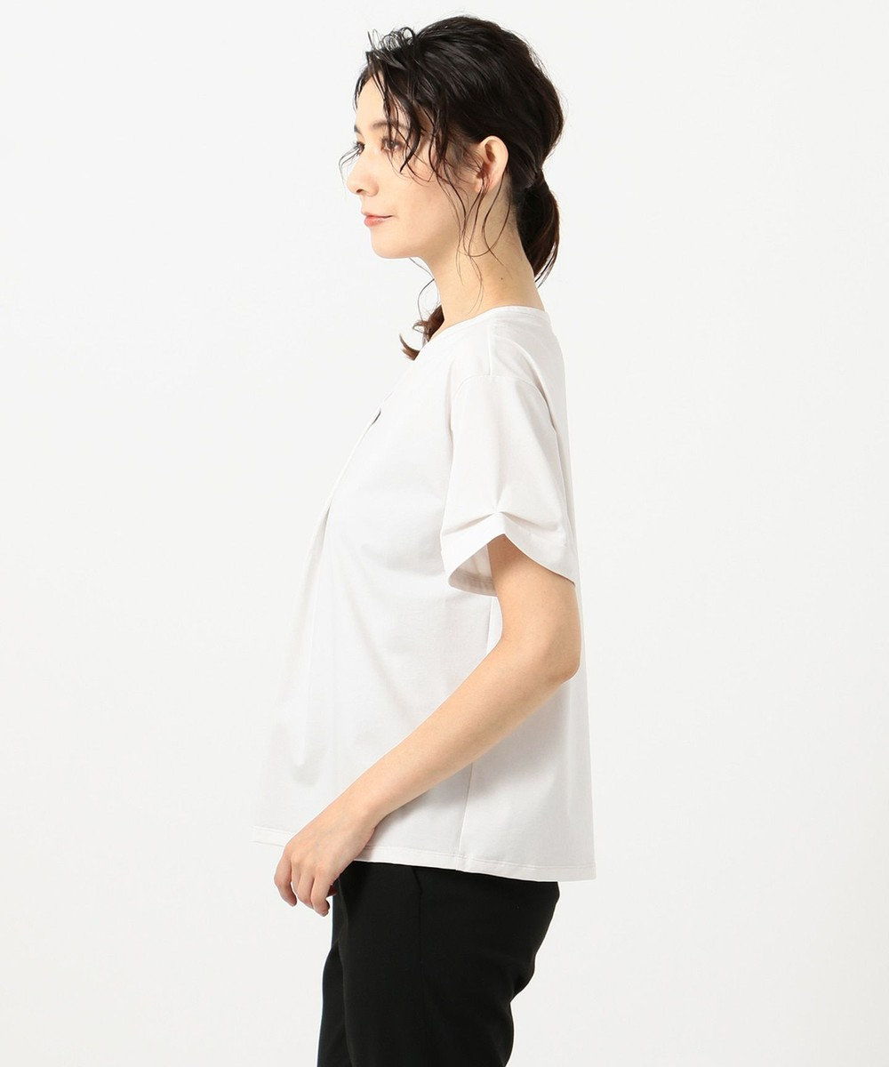 J.PRESS LADIES L 【WEB限定】プレーティングジャージー刻み襟 Tシャツ [WEB限定]グレージュ系