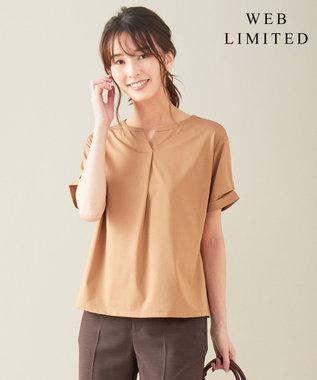 J.PRESS LADIES L 【WEB限定】プレーティングジャージー刻み襟 Tシャツ [WEB限定]キャメル系