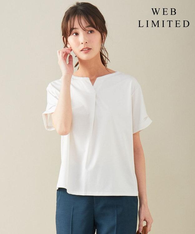 J.PRESS LADIES L 【WEB限定】プレーティングジャージー刻み襟 Tシャツ