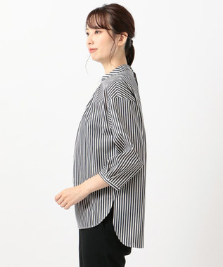 J.PRESS LADIES S 【洗える】トリコットストライプモックネック カットソー ネイビー系1