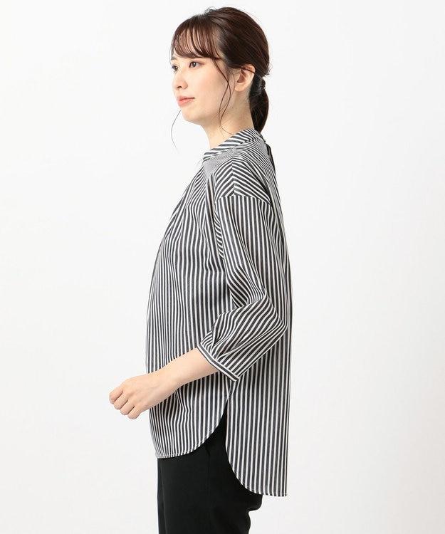 J.PRESS LADIES S 【洗える】トリコットストライプモックネック カットソー