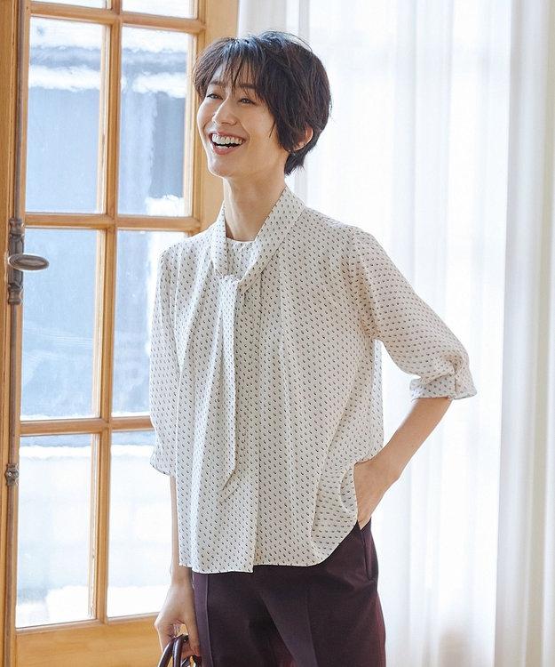 J.PRESS LADIES L 【洗える】スクエアプリントボウタイ カットソー