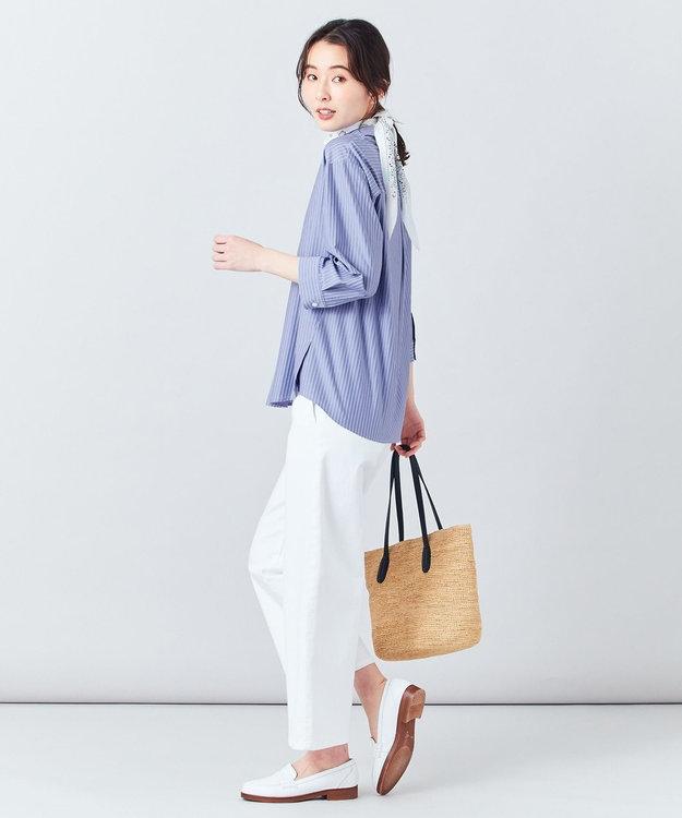 J.PRESS LADIES 【イージーケア】ストライプジャージーシャツライク カットソー