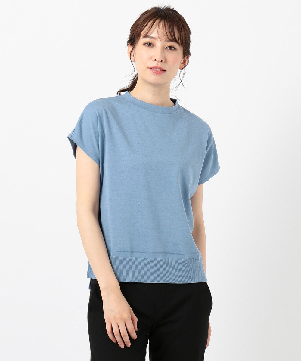 J.PRESS LADIES 【洗える】シルクリネンセーターマシーン カットソー サックスブルー系