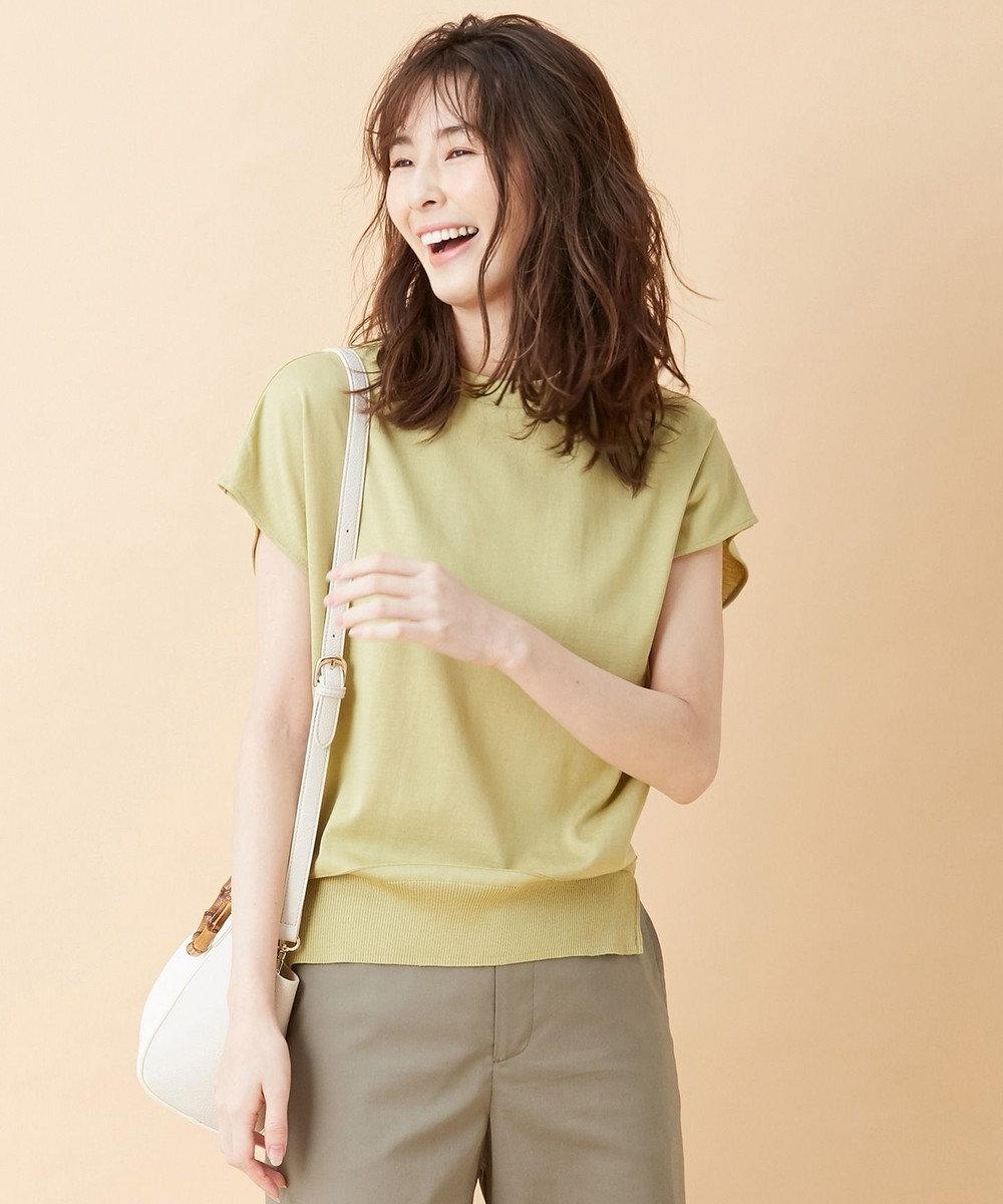 J.PRESS LADIES 【洗える】シルクリネンセーターマシーン カットソー ライトグリーン系