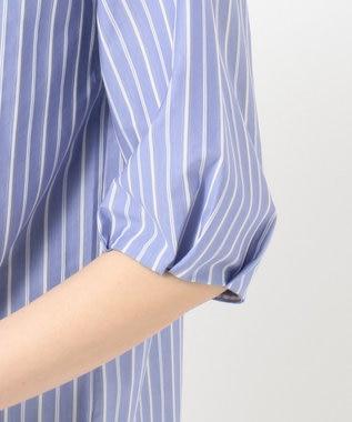 J.PRESS LADIES S 【洗える】スビンギザストライプジャージー 5分袖カットソー サックスブルー系1