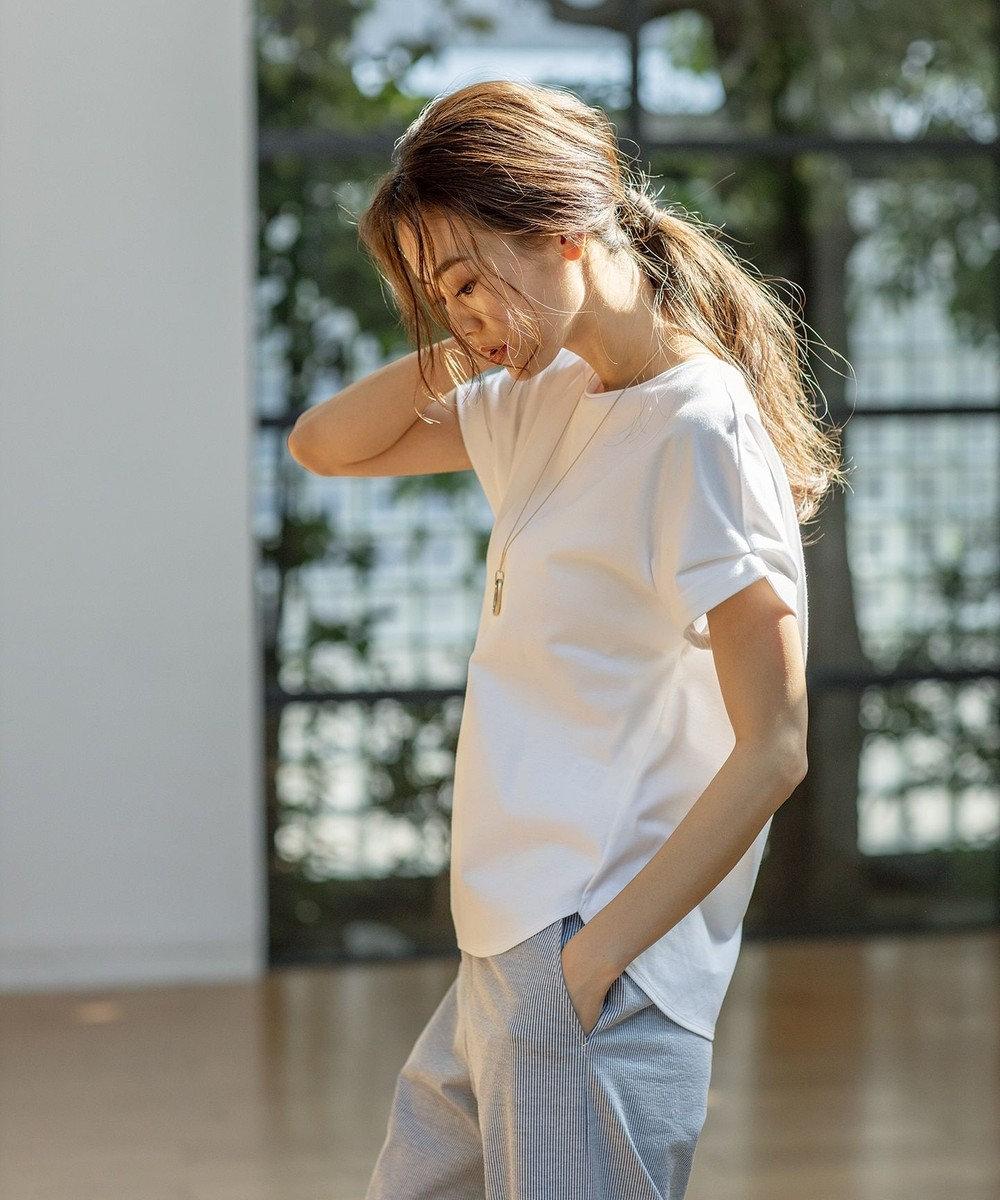 J.PRESS LADIES 【UVケア・消臭効果・接触冷感】コンパクトコットンスムース 半袖Tシャツ ホワイト系