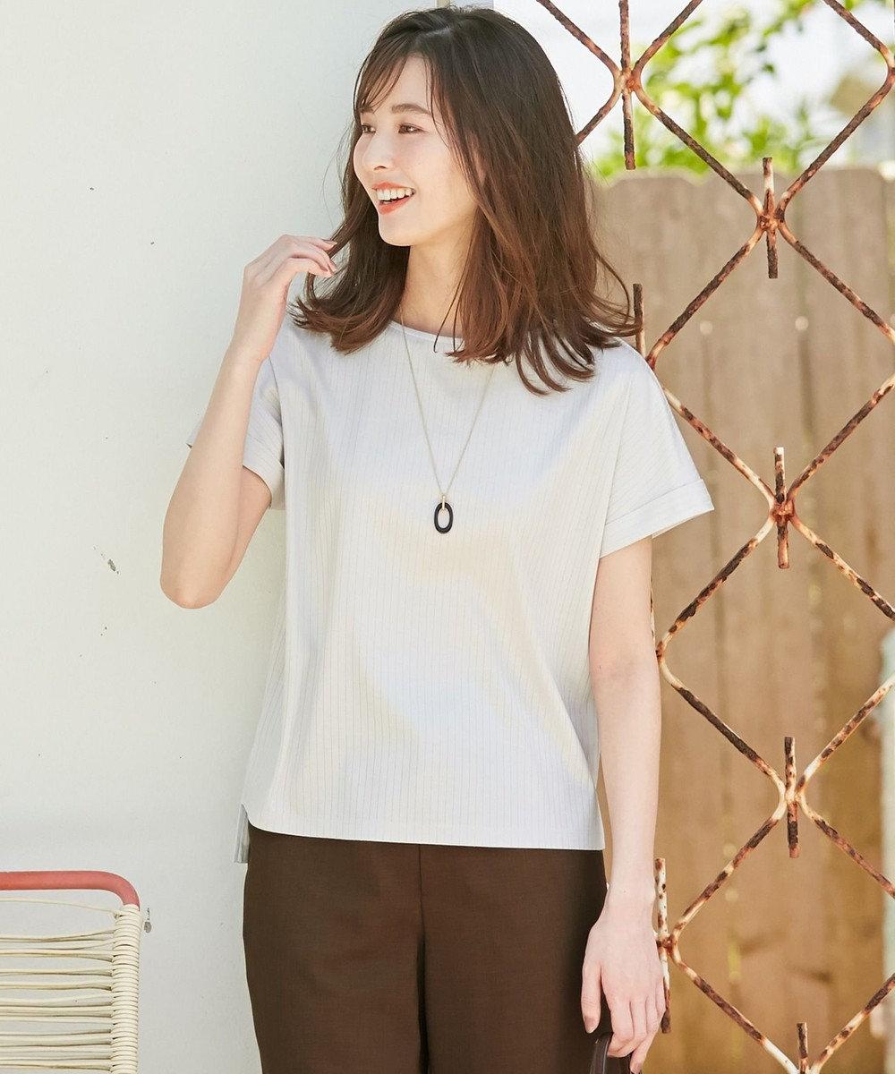 J.PRESS LADIES 【日本製】コットンリブフレンチ Tシャツ グレージュ系