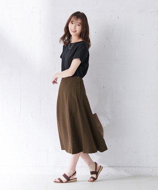 J.PRESS LADIES 【日本製】コットンリブフレンチ Tシャツ ネイビー系