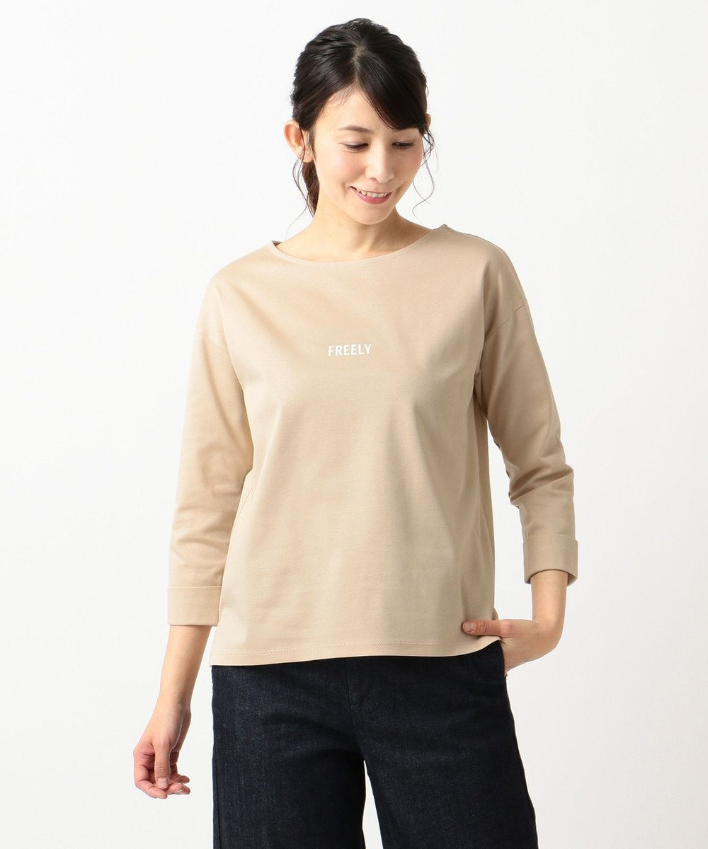 J.PRESS LADIES スーピマポンチ無地ロゴ Tシャツ ベージュ系