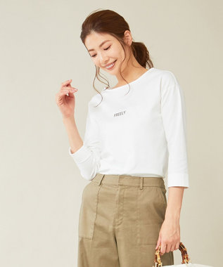 J.PRESS LADIES スーピマポンチ無地ロゴ Tシャツ ホワイト系