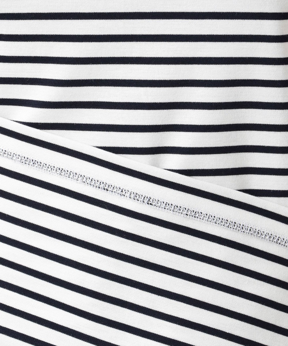 J.PRESS LADIES L スーピマポンチボーダー ロゴTシャツ ホワイト系1