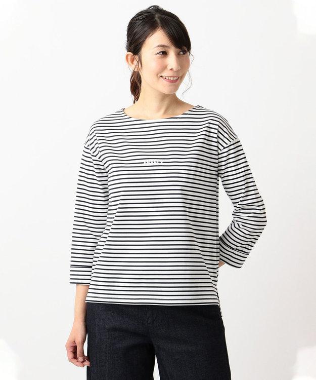 J.PRESS LADIES L スーピマポンチボーダー ロゴTシャツ
